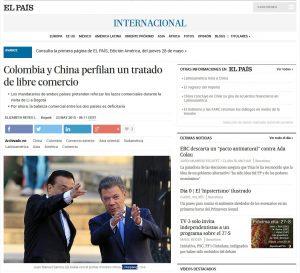 李克強首相とサントス大統領の姿を報じる「エル・パイス」紙