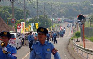 川内原発再稼働反対のデモ