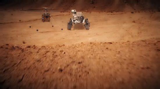 火星ヘリコプター(手前)と、マーズ2020探査車(奥)