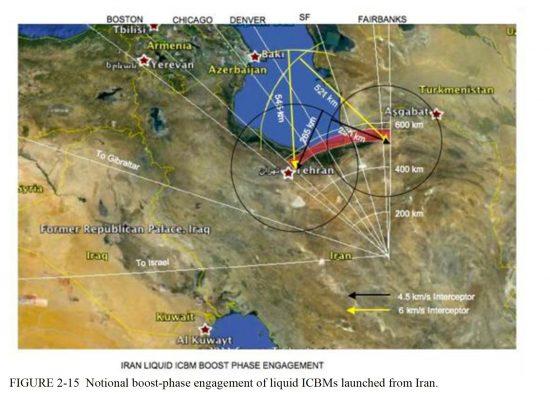 イランICBMのブーストフェーズ迎撃想定図