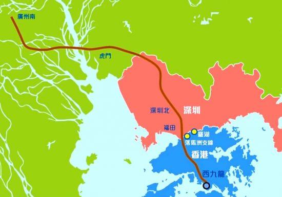 「広深港高速鉄路」の路線図