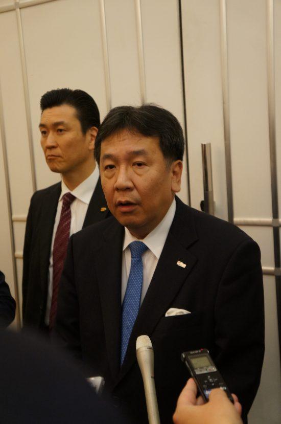 立憲民主党秋田県連キックオフ大会で挨拶をする枝野代表