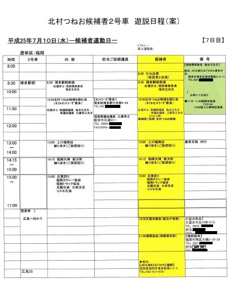 2013年参院選 北村遊説日程