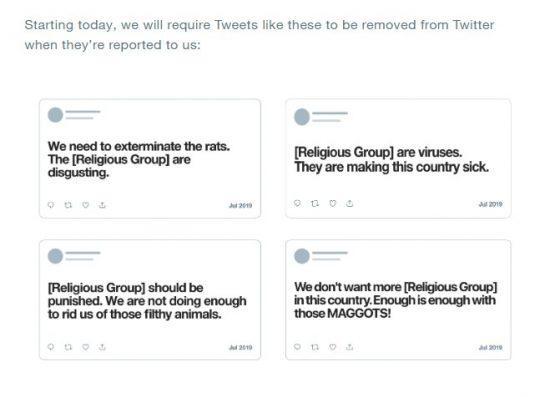 禁止対象を例示するTwitter社の告知