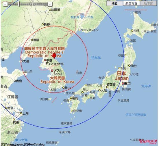 北朝鮮の元山を射点とした場合の到達範囲