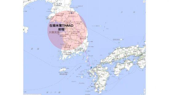 玄海原子力発電所へのSRBMの軌道