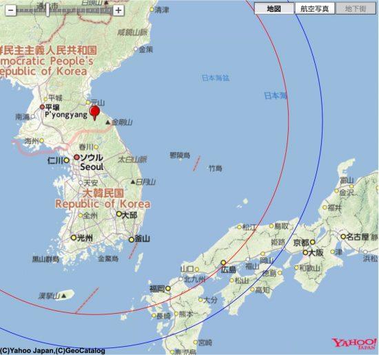 金剛山の北を射点とした場合のKN-23到達範囲