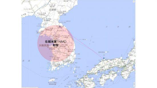 島根原子力発電所へのSRBMの軌道