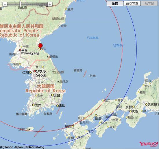 元山市の南を射点とした場合のKN-23到達範囲