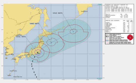 東京最接近時の台風19号2019年10月12日 21時頃