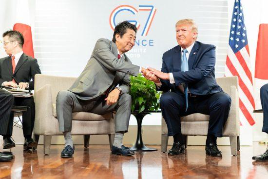 2019年8月のビアリッツG7後の安倍首相とトランプ大統領