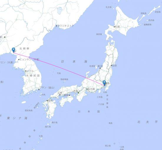 東倉里射場から東京までの弾道