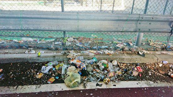 道路脇に溜まるゴミ