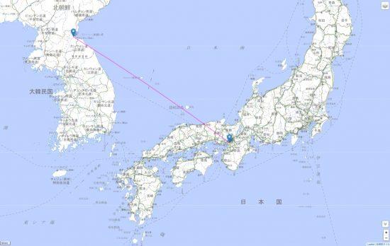 元山から大阪までの弾道