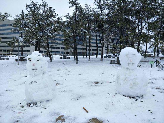 金日成総合大学の校庭の雪