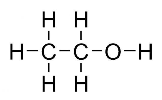 エチルアルコール(エタノール)の構造式