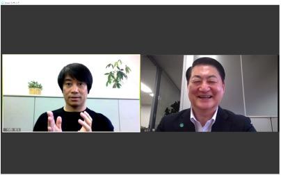 スポーツジャーナリストの中西哲生氏(左)とモチベーションファクター代表取締役・山口博氏(右)