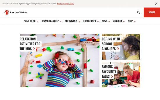 「Save the Children UK」のウェブサイト