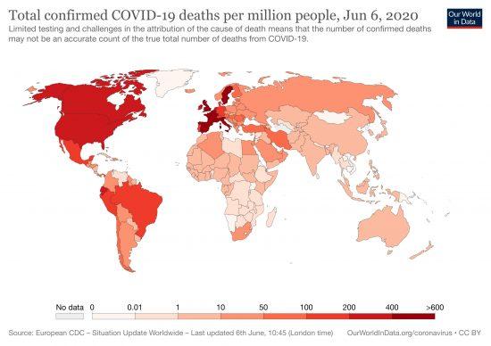 COVID-19による人口百万人当たりの死亡者数分布