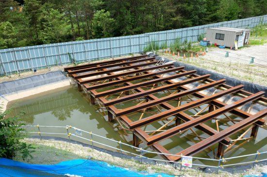 「坂島非常口」のヤードは水に浸かっていた