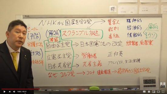 立花孝志のYouTubeチャンネルより