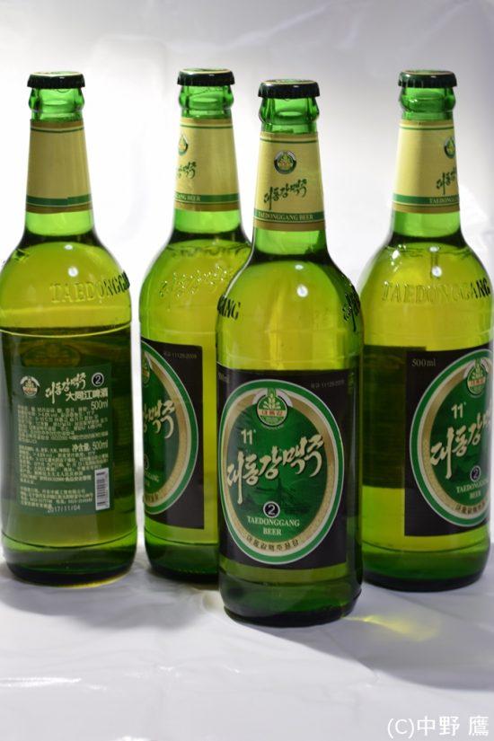 福岡の男性が販売していた中国輸出版大同江ビール上等な中瓶を使用している