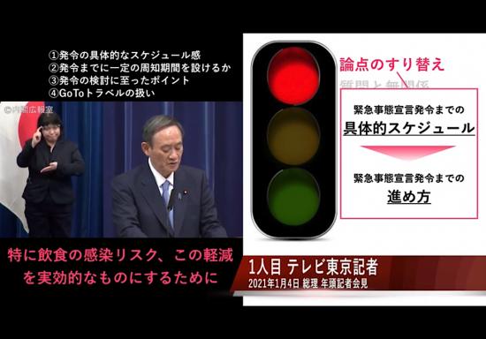 年頭記者会見での菅義偉総理