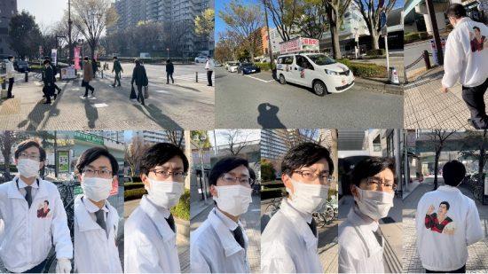 菅原氏が去った後の光が丘駅前、違法駐車する街宣車