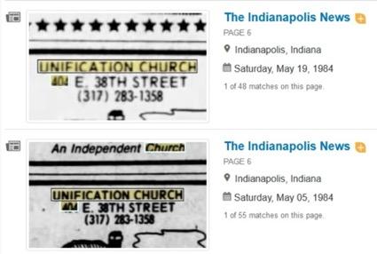 The Indianapolis News(1984年)に掲載された統一教会の広告